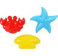 POLESIE smėlio formelių rinkinys: krabas, jūrų žvaigždė, kriauklė, 36544 36544