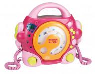 BONTEMPI CD grotuvas rožinis su dviem mikrofonais ir šviesų efektais, 43 9971 43 9971