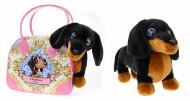CUTEKINS pliušinis žaislas Taksas su nešiojimo krepšiu, 51088 51088