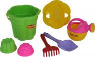 POLESIE smėlio žaidimų rinkinys: kibiras, sietelis, kastuvas, grėblys, laistytuvas, 2 formelės, 35660 35660