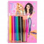 TOPMODEL spalvinimo knyga su pieštukų rinkiniu, 10049 10049