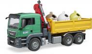 BRUDER MAN TGS sunkvežimis su kranu, ir 3 atliekų konteineriais, 3753 3753