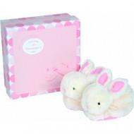 DOUDOU ET COMPAGNIE minkštas žaislas Bateliai Candy Rabbity, balti-rausvi, DC1308 DC1308