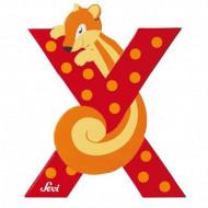 TRUDI SEVI abėcėlės raidė X su gyvūnėliu, medinė, 81624 81624