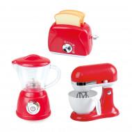 PLAYGO virtuviniai prietaisai (trintuvas, plakiklis ir skrudintuvė) raudonos spalvos, 38216 38216