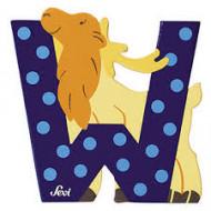 TRUDI SEVI abėcėlės raidė W su gyvūnėliu, medinė, 81623 81623