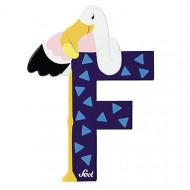 TRUDI SEVI abėcėlės raidė F su gyvūnėliu, medinė, 81606 81606