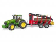 BRUDER John Deere 7930 traktorius su pakrovimo priekaba, +4 rąstai, 3054 3054