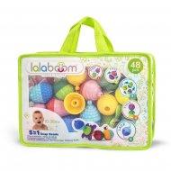 LALABOOM edukaciniai karoliukai ir aksesuarai užsegamame maišelyje, 48 dalys., BL460 BL460
