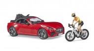 BRUDER automobilis Roadster ir dviratininkas su kelių dviračiu, 03485 03485