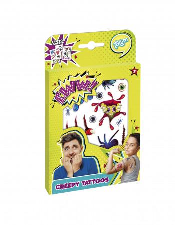 TOTUM tatuiruočių rinkinys Creepy Tattoos, 3 tatuiruočių lapai, 027053 27053